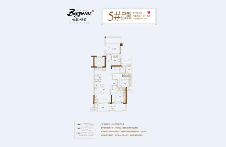 长基听棠 5#户型-2室2厅1卫-建面88㎡