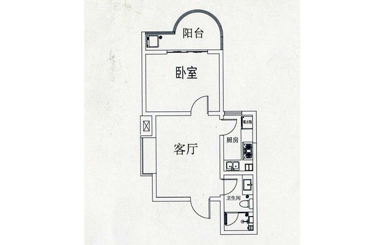 D户型1室1厅1卫48.79㎡