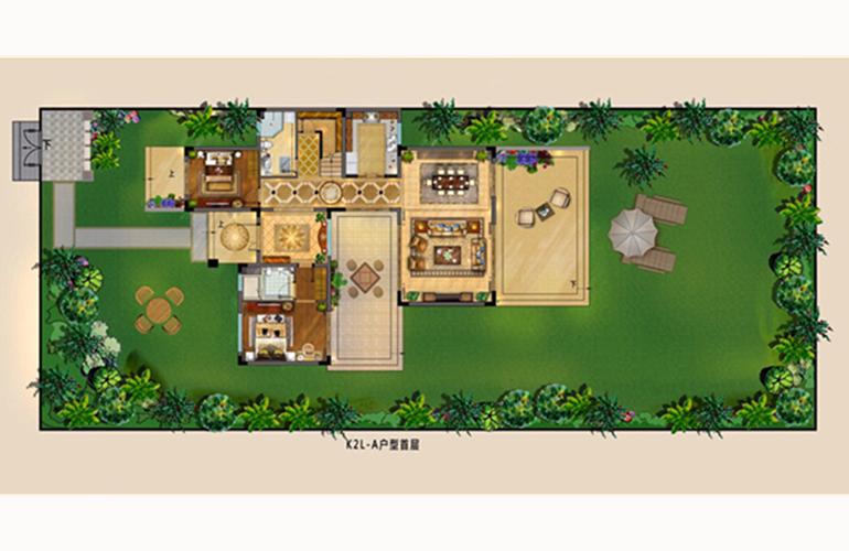 富力湾 K2海上院墅A户型: 六房两厅五卫 建面278.84㎡