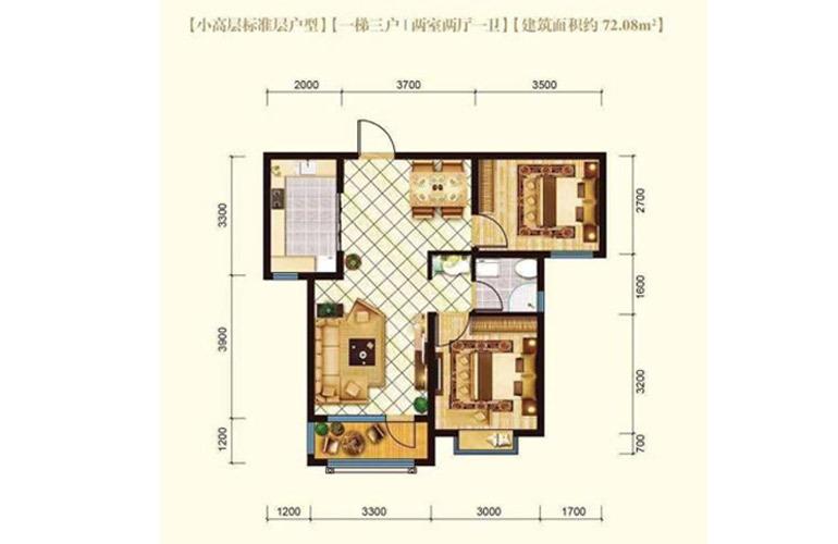 高层户型2室2厅1卫72.08㎡