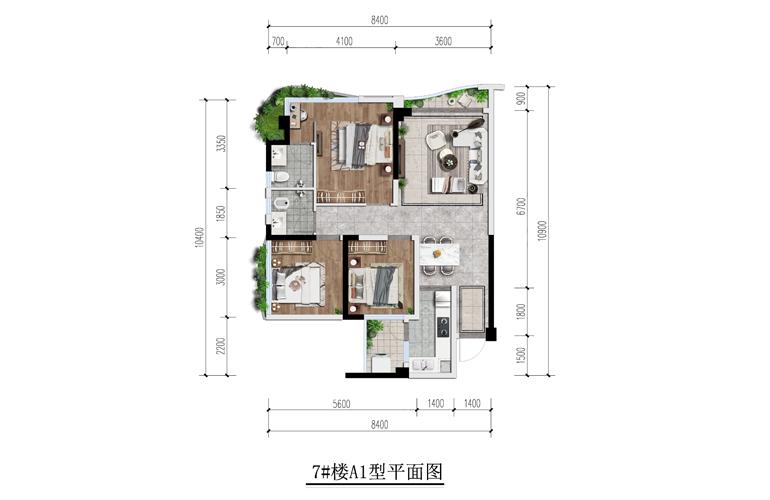 天府云城 A1户型3室2厅2卫73㎡