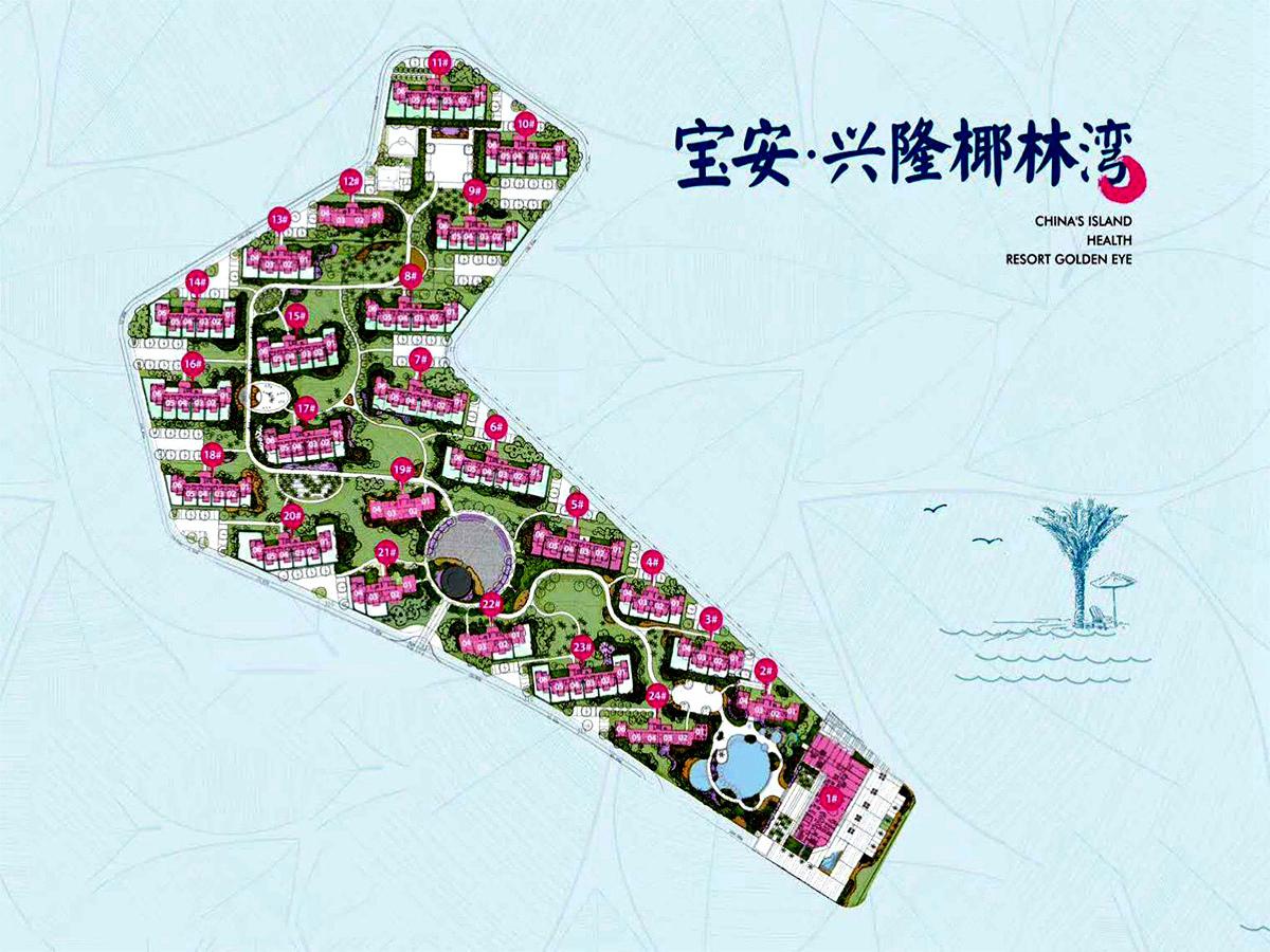 宝安兴隆椰林湾 楼栋分布平面图