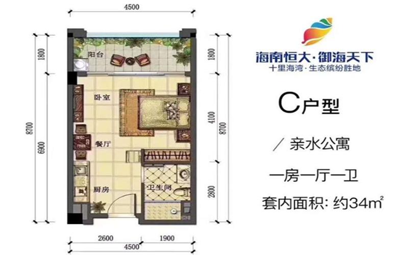 恒大御海天下 G1-C户型 1室1厨1卫 建面34㎡