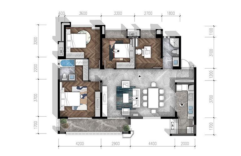 合谊·万璟台 a2户型4室2厅2卫137.12㎡