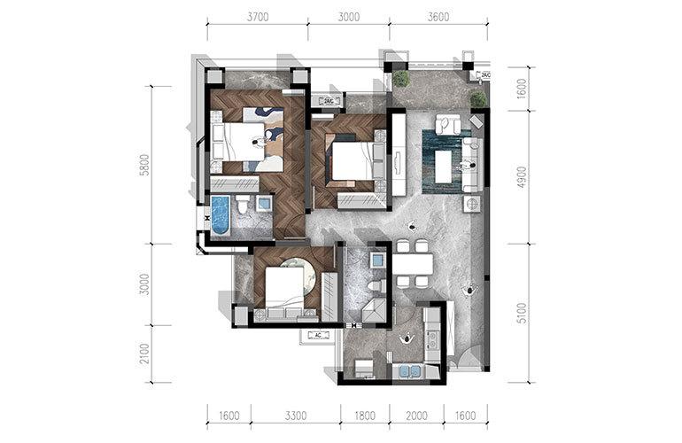 合谊·万璟台 a1户型3室2厅2卫117.67㎡