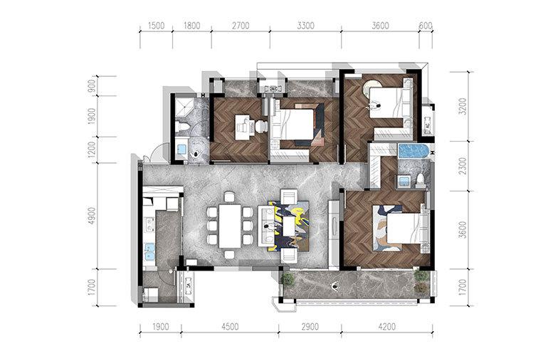 合谊·万璟台 b2户型4室2厅2卫134.75㎡