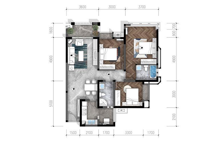 合谊·万璟台 a7户型3室2厅2卫117.64㎡