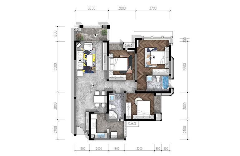 合谊·万璟台 b1户型3室2厅2卫110.62㎡