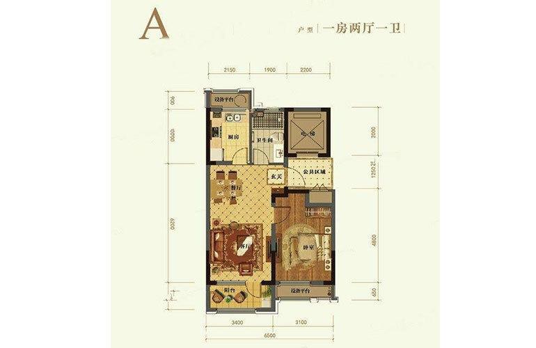 A户型1室2厅1卫65㎡