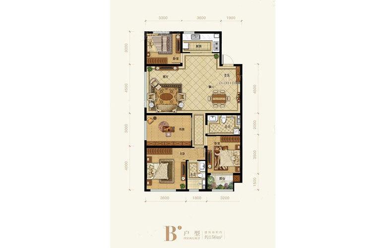 B户型4室2厅2卫156㎡