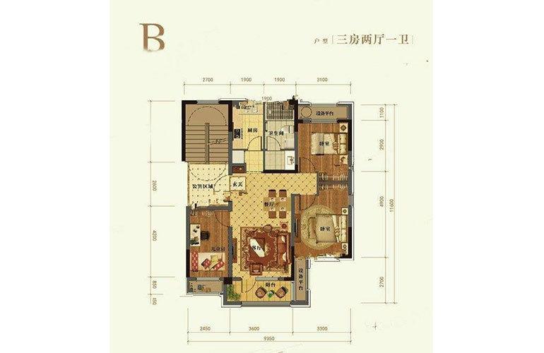 B户型3室2厅1卫95㎡