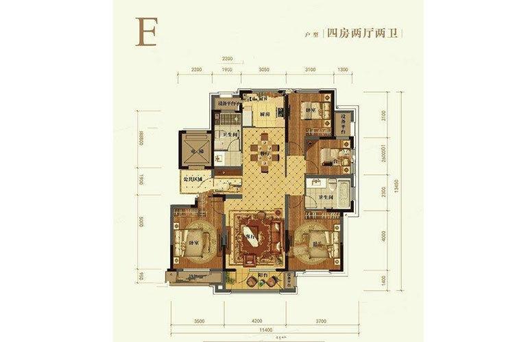E户型4室2厅2卫142㎡
