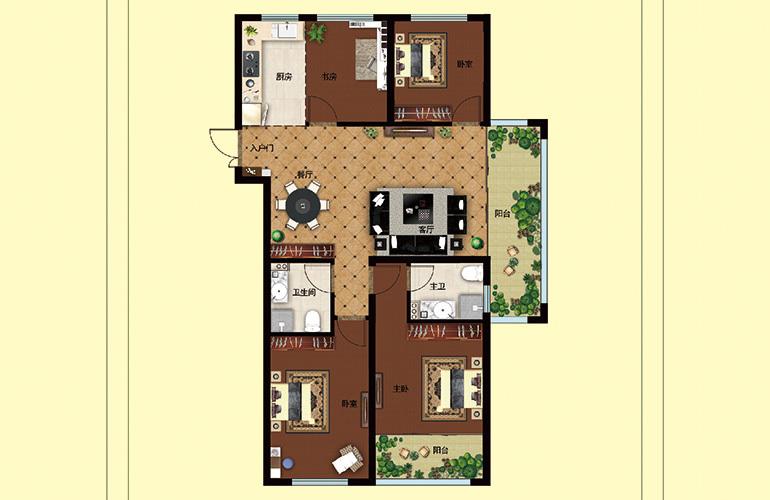 中城华府 A户型 4室2厅2卫1厨 136.09㎡