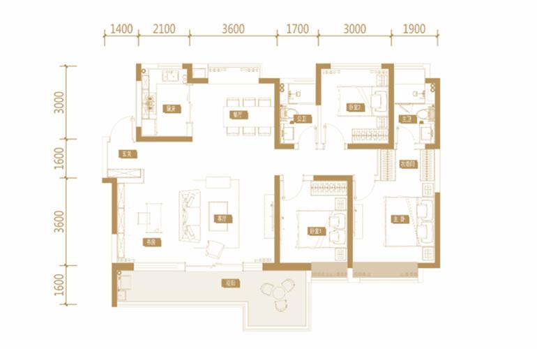 蓝光花田国际 F1户型 3室2厅2卫1厨 143.5㎡