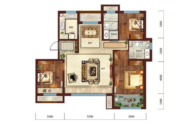 3室2厅2卫121㎡
