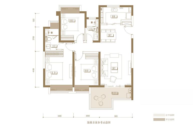 蓝光花田国际 A户型 3室2厅2卫1厨 122.32㎡