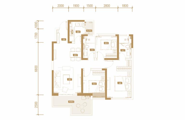 蓝光花田国际 E1户型 3室2厅2卫1厨 113.25㎡