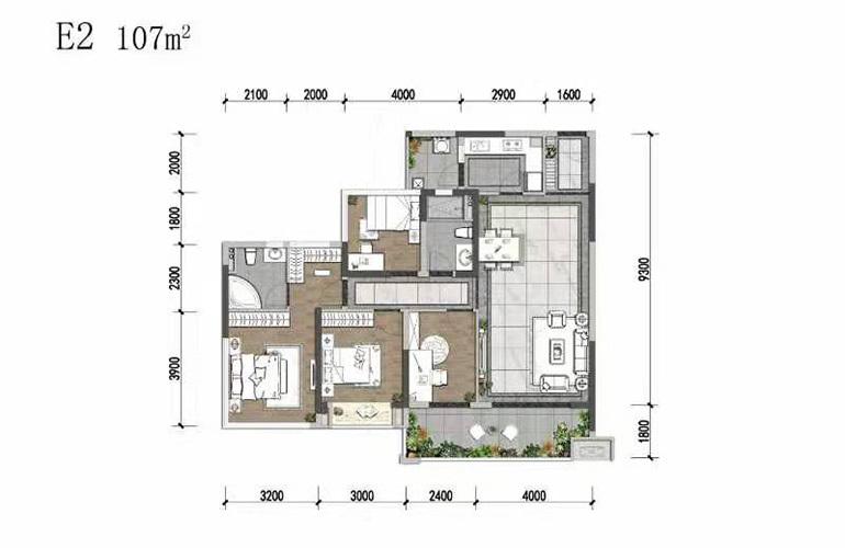 天府中心城 E2户型 4室2厅2卫1厨 107㎡