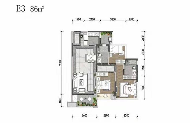 天府中心城 E3户型 3室2厅2卫1厨 86㎡
