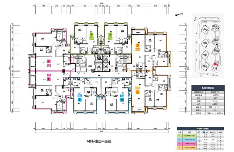 国维中央广场 6栋标准层平面图