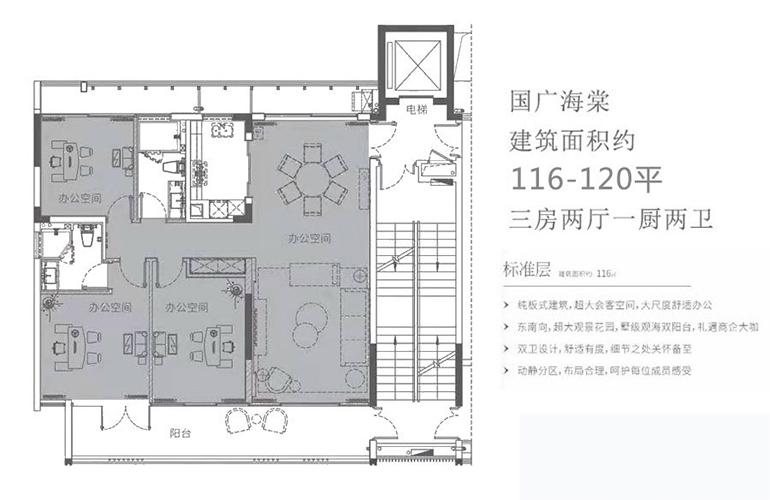国广海棠湾 标准层 三房两厅一厨两卫 建面约116-120㎡