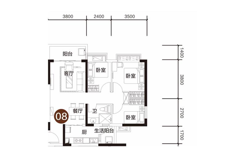 恒大海花岛 3室2厅1卫1厨 建面92㎡