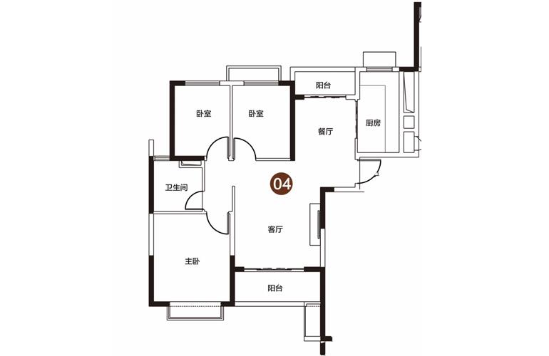 恒大海花岛 高层 3室2厅1卫1厨 建面115㎡