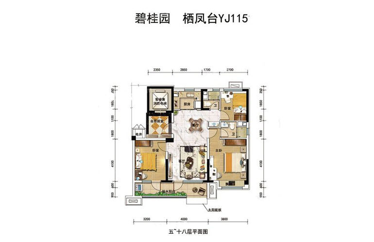 YJ115户型3室2厅2卫115㎡