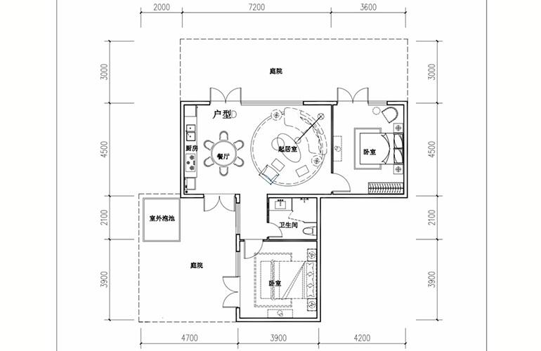 汉华天马山国际温泉度假区 叠拼D1户型 2室2厅1卫1厨 76㎡