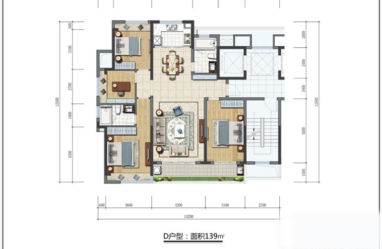三亚蘭园 D户型 3室2厅2卫 建面139㎡