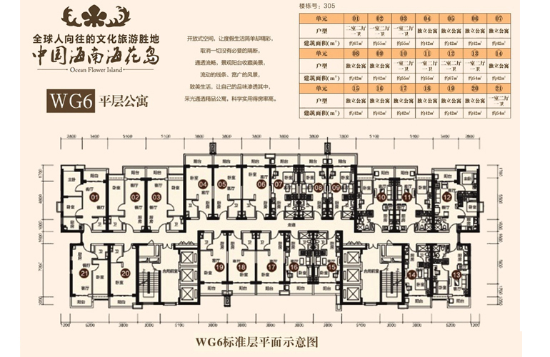 恒大海花岛 WG6 1室2厅1卫1厨 建面54㎡