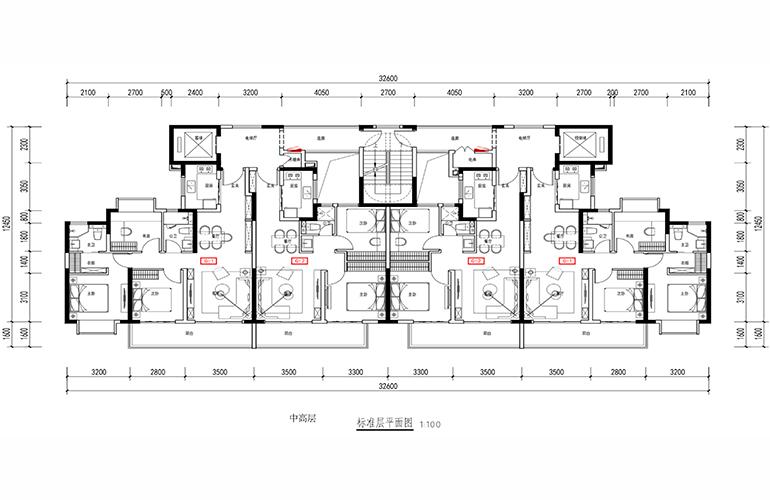新城蓝光碧桂园古滇水云城 中高层标准层平面图