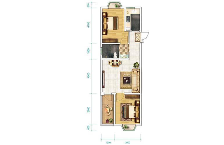 恒大养生谷 洋房G-1-a户型 2室2厅1卫1厨 建面70.5㎡