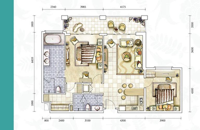 恒大养生谷 公寓C户型 2室2厅2卫1厨 建面147.9㎡