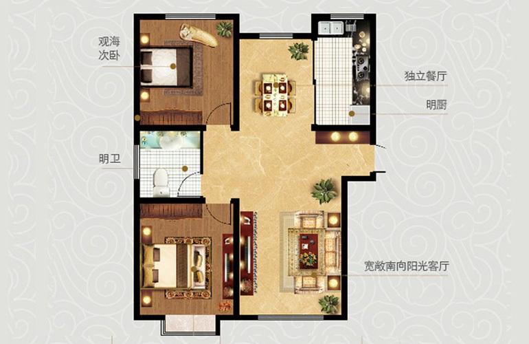 3室2厅1卫1厨 建面124.61㎡