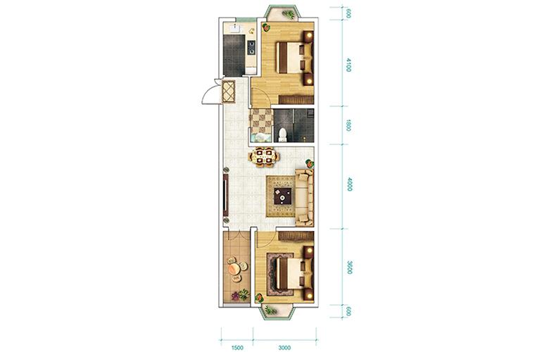 恒大养生谷 洋房G-1-b户型 2室2厅1卫1厨 建面70.5㎡