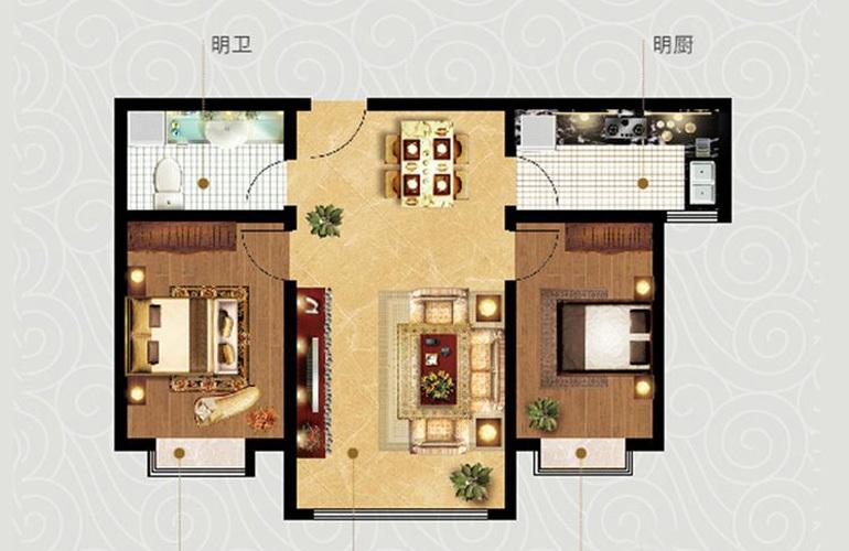2室2厅1卫1厨 建面86.27㎡