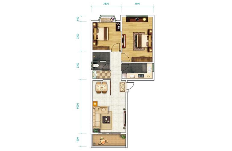 恒大养生谷 洋房H-1户型 2室2厅1卫1厨 建面89㎡