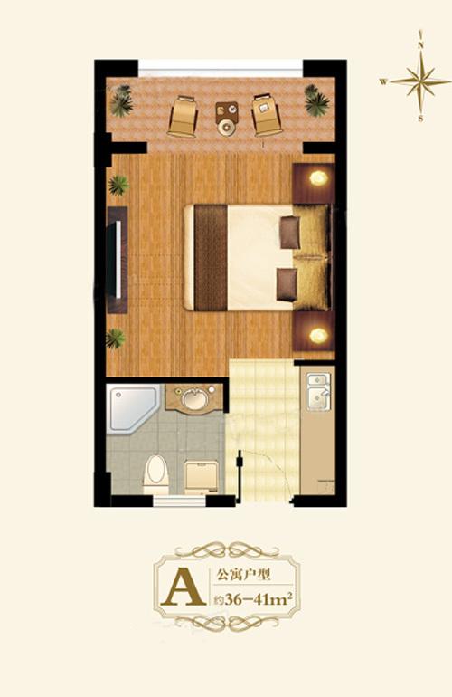 1室1厅1厨1卫 建面36.00㎡