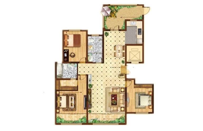 F户型3室2厅2卫172㎡