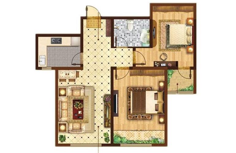A户型2室2厅1卫86㎡