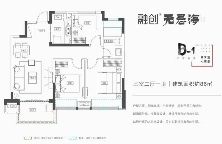 融创无忌海 B-1户型 3室2厅1卫 建面86㎡