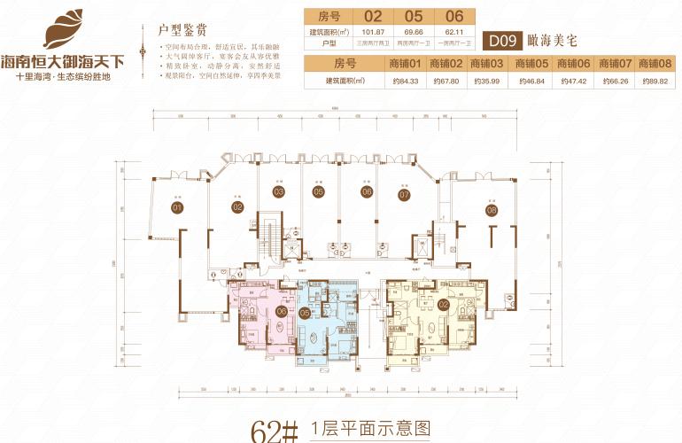 恒大御海天下 62号楼二期D09 1层平面图