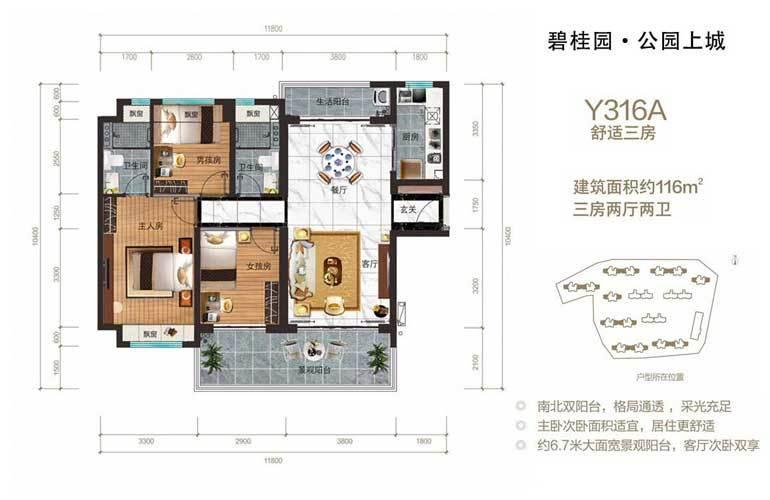 碧桂园公园上城 Y361A 3房2厅2卫 建面116㎡
