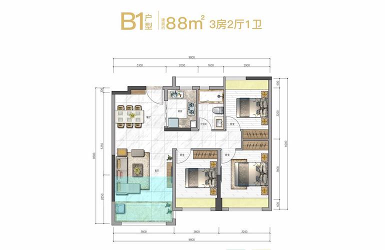 奥园天悦湾 B1户型 3房2厅1卫1厨 建面88㎡