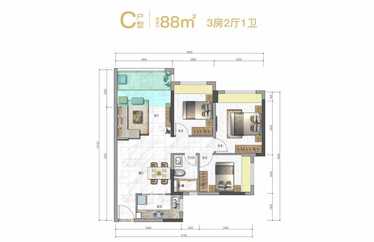 奥园天悦湾 C户型 3房2厅1卫1厨 建面88㎡