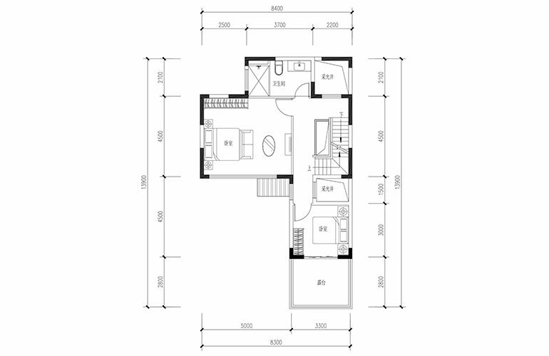 恒大养生谷 合院A户型四合二层 4室2厅3卫1厨 建面183.44㎡