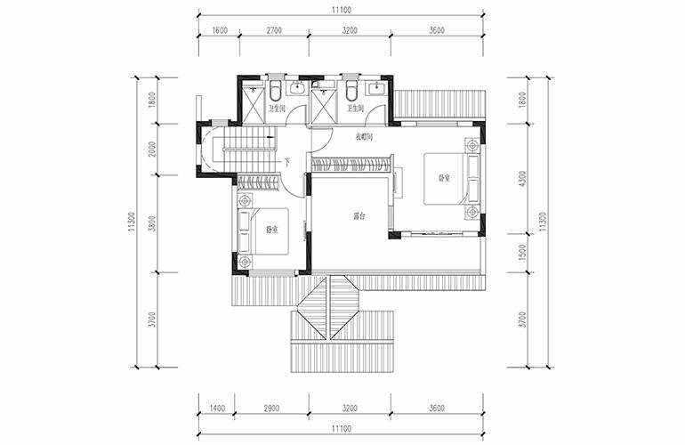 恒大养生谷 联排129户型二层 3室2厅3卫1厨 建面129.07㎡