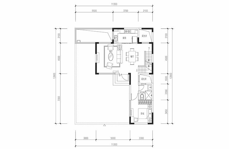 恒大养生谷 合院A1户型六合一层 4室2厅3卫1厨 建面183.44㎡