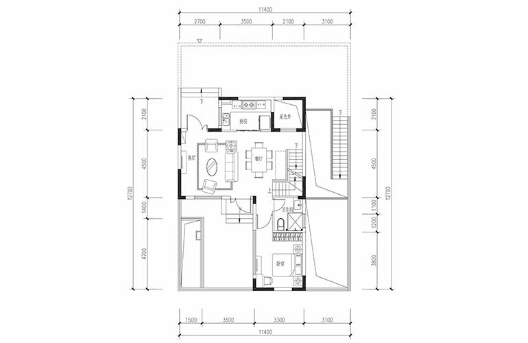 恒大养生谷 合院B户型四合一层 4室2厅3卫1厨 建面164.24㎡